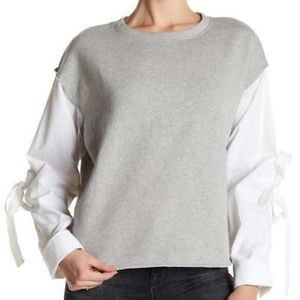 Melrose and Market Poplin Sleeve Sweatshirt (L)